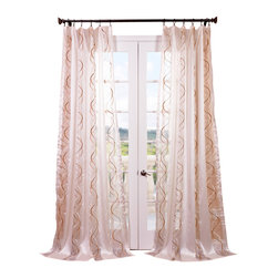 Exclusive Fabrics & Furnishings, LLC - Camille Taupe-Gold Embroidered Sheer Curtain - Feel like royalty with window treatments that boast elegant golden taupe embroidery for a touch of luxury at home. The sheer weave means natural light is always perfectly diffused so your space always has an impeccable dose of golden sunshine.