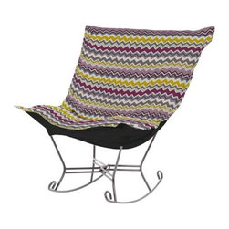 Howard Elliott Bolt Eggplant Scroll Puff Rocker - Titanium Frame - Nothing less than the most comfortable chair on the planet! The soft luxury and style of our Puff Collection is a great addition to any room. All Puff cushions are constructed with luxurious foam for optimal comfort. Like most HEC items, Puff cushions are removable for easy cleaning, are interchangeable between frames.