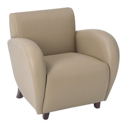 Office Star - Office Star Eleganza Eco Leather Club Chair in Taupe and Cherry - Office Star - Club Chairs - SL2471EC11 - Eleganza - Taupe Eco Leather Club Chair with Cherry Finish Legs. Shipped Assembled. Rated for 300 Lbs. Distributed Weight.