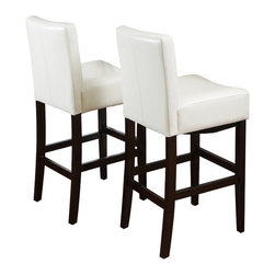 Great Deal Furniture - Lowry Leather Bar Stool (Set of 2) - Add comfort to your home with our Lowry Leather Bar Stool. With its soft ivory leather and well padded seats, this piece makes an ideal seat for any get together. Built from hardwood with espresso stained legs, our Lowry bar stool is build to last for years to come.