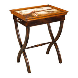 French Heritage - Odette End Table - The Odette End Table flaunts an absolutely stunning hand painted scene of birds singing and fluttering from branch to branch. The table top lifts away to become a serving tray that your friends will congregate around.  Lift-away serving tray.