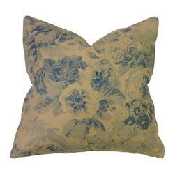 Bennison Blue Floral Pillow - All over blue floral on tea stained linen, blue cotton back.
