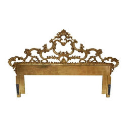 French Cast Iron Headboard - King Size - Sleep like royalty in this king size one of a kind vintage headboard from France. The headboard features an ornate cast iron design with gold gilt finish.