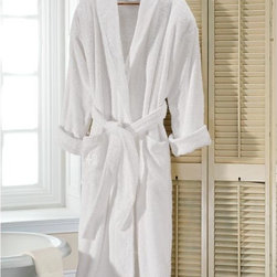 """Exposures - Personalized Turkish Terry Robe - Overview The worlds top resorts and spas choose 100% Turkish cotton for their robes and towels because its soft, luxurious and absorbent. Now you can offer your guestsor yourselfthe same level of pampering. Made with top quality materials and fine finishing details, slipping into this luscious robe will be the highlight of your shower.   Features 100% Turkish cotton robe 525 grams Shawl collar Turn-back cuffs 2 pockets Belted Made in Turkey Care Instructions Machine wash warm with similar colors, tumble try low We do not recommend using bleach Avoid contact with benzoyl peroxide For best absorbency do not use fabric softener   Personalization  3-letter monogram (we will arrange your initials in monogram order) White thread Monogram is on right pocket No returns on personalized merchandise unless the item is damaged or defective    Specifications  One size fits most  52"""" long   Shipping  Please allow an additional 2 to 3 days for personalized items"""