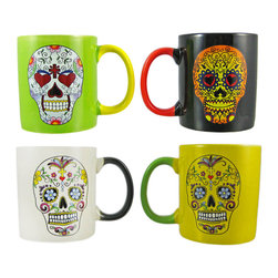 Zeckos - Set of 4 Day of The Dead Sugar Skull Ceramic Coffee Mugs - This set of 4 ceramic coffee mugs is great for anyone who loves skulls. The handle of each mug is a different color than the mug itself, and each one has a Day of The Dead style Sugar Skull design on each side. They hold 12 ounces apiece, and are hand wash only.