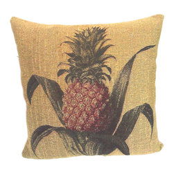 None - Corona Decor French Woven Pineapple Decorative Pillow - This pineapple decorative pillow will invite your friends to chat and will provide an interesting accent to any sitting area. Shades of deep green and rusty red pop out from a wheat background. This cotton and wool pillow has a zipper closure.