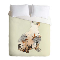 DENY Designs - DENY Designs Iveta Abolina Little Rabbit Duvet Cover - Lightweight - Turn your basic, boring down comforter into the super stylish focal point of your bedroom. Our Lightweight Duvet is made from an ultra soft, lightweight woven polyester, ivory-colored top with a 100% polyester, ivory-colored bottom. They include a hidden zipper with interior corner ties to secure your comforter. It is comfy, fade-resistant, machine washable and custom printed for each and every customer. If you're looking for a heavier duvet option, be sure to check out our Luxe Duvets!