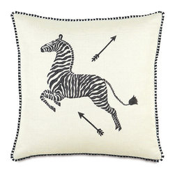 Frontgate - Scalamandre Zebra Hand-Painted Decorative Pillow - Each includes a high-quality down fill pillow insert. Handpainted on 100% cotton. All feature zippered closures. Because these are specially made to order, please allow 4-6 weeks for delivery. Dry clean only. Bring vibrancy and deep hues to a couch, chair, or bed with exotic Scalamandre Decorative Pillows. Iconic images of zebras and arrows and matching patterns coalesce with rich, solid colors and contemporary designs. Dress up a family room or bedroom with these bold, functional accessories.. . . . . Made in USA.