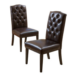 Great Deal Furniture - Clark Dining Chairs (Set of 2), Brown - The Clark dining chairs are beautifully built from hardwood, with fully cushioned seat and backrest. Their elegant and simple design make these chairs great pieces for your dining space and can be used for additional seating.