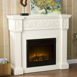 Holly & Martin - Calvert Carved 44.5 in. Electric Fireplace - Eco-friendly. Ventless. Elegant floral trim. Fluted columns on either side of firebox. Perfect media room accent. Remote control requires two AAA batteries. Realistic flickering flame effect. Long life LED lights. 120V-60Hz, 1500W / 5000 BTUs, 12.5 Amp. Easy to use adjustable thermostat. Safety thermal overload protector. Adjustable flame brightness control. Plugs into standard wall outlet with 6 ft. cord. Tested to heat 1500 cubic feet in only 24 minutes. Uses about the same energy as coffee maker. 100% energy efficient with low operating costs. Produces zero emissions and pollutants. No combustion glass remains cool to touch. Mantel supports upto 85 lbs.. Accommodates upto 47 in. flat screen TV. Made from veneer, MDF, metal, resin and glass. Assembly required. Firebox front: 23 in. W x 20 in. H. Overall: 44.5 in. W x 14.5 in. D x 40.25 in. H (103 lbs.)Crisp is the perfect description for this traditional ivory fireplace. This beautiful mantel is finished off with understated molding that complements the design fabulously. Requiring no electrician or contractor for installation allows instant remodeling without the usual mess or expense. In addition to your living room or bedroom, try moving this fireplace to your dining room for a romantic dinner or complement your media room with a ventless fireplace below your flat screen television. Use this great functional fireplace to make your home a more welcoming environment.