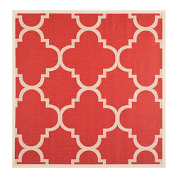 Safavieh - Courtyard Red Square: 7 Ft. 10 In. x 7 Ft. 10 In. Rug - - Safavieh takes classic beauty outside of the home with the launch of their Courtyard Collection. Made in Turkey with enhanced polypropylene for extra durability these rugs are suitable for anywhere inside or outside of the house. To achieve more intricate and elaborate details in the designs Safavieh used a specially-developed sisal weave  - Pile Height: 0.25  - Construction: Machine Made  - Easy to Clean?Just sweep vacuum or rinse off with a garden hose. Safavieh - CY6243-248-8SQ