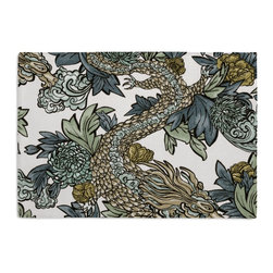 Aqua Chinoiserie Dragon Custom Placemat Set - Is your table looking sad and lonely? Give it a boost with at set of Simple Placemats. Customizable in hundreds of fabrics, you're sure to find the perfect set for daily dining or that fancy shindig. We love it in this modern chinoiserie dragon in red, teal, gray & gold. so chic it will steal the show in any room.