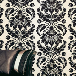Romo - Romo Grandis Flock Charcoal Wallpaper - For Romo wallpapers, meticulous design process develops a design from a simple pencil sketch through to beautifully drawn artwork, or inspirational archive documents are re-worked into imaginative new designs. Their reputation for offering excellent design and quality is built on two important factors: exclusive designs by experienced designers; and close working relationships with carefully chosen expert printers.
