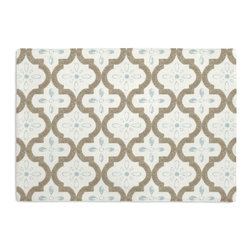 Tan & Aqua Quatrefoil Trellis Custom Placemat Set - Is your table looking sad and lonely? Give it a boost with at set of Simple Placemats. Customizable in hundreds of fabrics, you're sure to find the perfect set for daily dining or that fancy shindig. We love it in this seafoam & taupe quatrefoil pattern on a soft sateen reflects the essence of classic moroccan tilework.