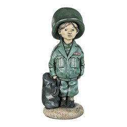 """Lamps Plus - Kids Little Boy Soldier Yard Decor Garden Sculpture - Add this charming little soldier garden sculpture to an outdoor play area or anywhere you'd like a bit of whimsical yard decor. Created in cast stone and finished in fun bright colors this piece makes a great garden accent or a festive indoor sculpture. Hi-tone finish. Cast stone construction. 7 1/2"""" wide. 18"""" high. Base diameter is 7"""".  Cast stone construction.  7 1/2"""" wide.  18"""" high.  Base diameter is 7""""."""