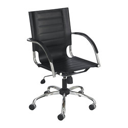 Safco - Safco Flaunt Managers Office Chair in Black - Safco - Office Chairs - 3456BL - If you've got it Flaunt it! The Flaunt chair boasts a stitched accent on the seat and back for a sophisticated and contemporary look. You're sure to get noticed with three leather and three micro fiber options to choose from. With stylish chrome metal accents the chair also features fabric arms that match the chair. The height-adjustable swivel-tilt mechanism is perfect for any environment. The Flaunt managers chair is perfect for the work or home office and can be used from the sales office to the executive office. Great for executive conference or training rooms or meeting areas. Flaunt your reception area media center or even library. If you've got it Flaunt it!