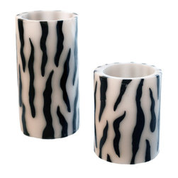 River of Goods - Set of Two Zebra Striped Flameless LED Candles - The Set of two Zebra Striped LED Flameless Candles adds a touch of exotic character while remaining chic and vibrant