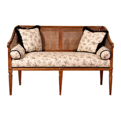 Rumi Antiques Settee Two Seater - The caned back of this settee is so lovely.  It would be a classic statement for a large front hall or entryway.