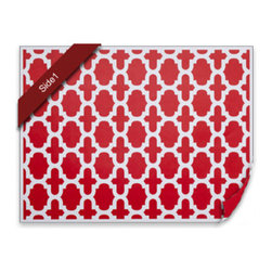diPotter LLC - 24 Fret Placemats (Poppy Red) - 24 Reversible Paper Placemats (Poppy Red)