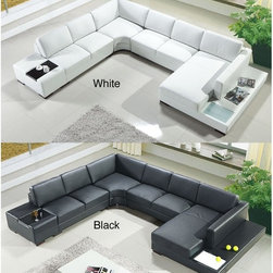 Artistant House 4-piece Black or White Leather Sectional - Features a hardwood frame, high-density foam and rubber webbing support system