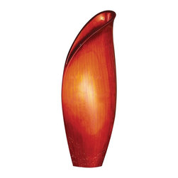 Howard Elliott - Medium Scarlet Lily Vase - This medium sized wooden vase is characterized by its resemblance to a budding lily flower. It is finished in a bright brushed red lacquer.