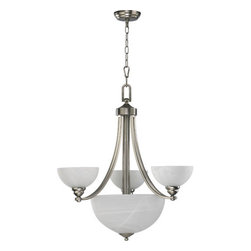 Quorum International - Quorum International Q621-3 6 Light Up / Down Lighting Chandelier Hemis - Hemisphere Bowl ChandelierHemisphere is for the stylish modern interior where tranquility is paramount, for who doesn't long for an oasis of calm at the end of a busy day? Hemisphere is equally at home in a contemporary loft with exposed brick walls or a traditional home with clean lines. Old World finish with Iced Etruscan glass and Satin Nickel finishes with Faux Alabaster half-spherical glass shades.Bulbs: (3+3) 60W Medium