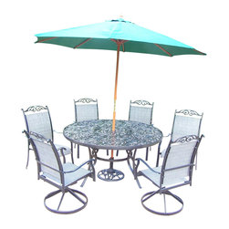 Oakland Living - 9-Pc Round Outdoor Dining Set - Includes dining table, two swivel rockers, four dining chairs, 9 ft. tilt crank umbrella with stand and metal hardware. Fade, chip and crack resistant. Traditional lattice pattern and scroll work. Rust free and handcast. Hardened powder coat. Warranty: One year limited. Made from cast aluminum and sling. Black color. Minimal assembly required. Table: 60 in. Dia. x 29 in. H (70 lbs.). Dining chair: 24 in. W x 30.5 in. D x 40 in. H (12 lbs.). Swivel chair: 24 in. W x 30.5 in. D x 40 in. H (16 lbs.)The Oakland Cascade Collection combines contemporary style and modern designs giving you a rich addition to any outdoor setting.