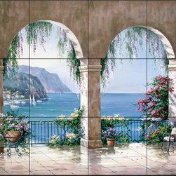 The Tile Mural Store (USA) - Tile Mural - Sk - Mediterranean Arch - Kitchen Backsplash Ideas - This beautiful artwork by Sung Kim has been digitally reproduced for tiles and depicts an arched patio overlooking the mediterranean.  Waterview tile murals are great as part of your kitchen backsplash tile project or your tub and shower surround bathroom tile project. Water view images on tiles such as tiles with beach scenes and Mediterranean scenes on tiles Tuscan tile scenes add a unique element to your tiling project and are a great kitchen backsplash idea. Use one or two of our landscape tile murals for a wall tile project in any room in your home for your wall tile project.