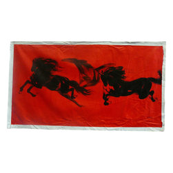 Golden Lotus - Oil Paint Canvas Art 3 Black Horses Red Wall Decor - This is an art work of Chinese artist - SZJ. Oil painting on canvas.  ( ship in roll, no frame )