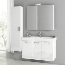 ACF - 40 Inch Glossy White Bathroom Vanity Set - This four piece vanity set was made in Italy by designer ACF. Utilizing a contemporary design, this set includes a 37 inch vanity cabinet, bathroom sink, medicine cabinet and tall storage cabinet. Part of the ACF Cubical collection, the set mounts to your bathroom wall, ideally in a master bathroom setting. Set Includes:. Vanity Cabinet (3 Doors). High-end fitted ceramic sink. Wall mounted medicine cabinet. Tall storage cabinet. Vanity Set Features . Vanity cabinet made of engineered wood. Cabinet features waterproof panels. Vanity cabinet in glossy white finish. Vanity cabinet features three easy-to-open doors. Chrome door handles elegantly complete vanity surface. Faucet not included. Perfect for modern bathrooms. Made and designed in Italy. Includes manufacturer 5 year warranty.
