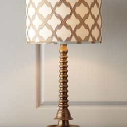 "Jamie Young - Jamie Young ""Ghee"" Table Lamp - An interpretation of an antique Indian ghee butter lamp, this table lamp is a work of art with a contemporary coiled design that adds modern allure to a bedroom, living room, or entryway. The quatrefoil-lattice design on its classic drum shade enhances...."