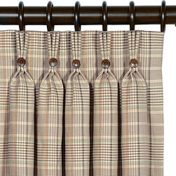 """Eastern Accents - Kai Curtain Panel Set - Dress the room in luxury with a deluxe window treatment, crafted with excellence from the finest materials. The preppy Kai curtain panels are built from a classic plaid pattern in yellow and brown, highlighted by tangerine orange and mint green. These smart panels are made from high quality drapery fabric and include a medium weight 100% cotton lining in ivory. Curtains feature a 3-finger pinch pleat header, finished with brown buttons and bright orange stitching. Curtain panels can be hung on rings or a traverse rod (5 pleats per panel). Set of two curtain panels is available in three sizes. Professional cleaning recommended. Curtain panels measure 40""""W x 84""""L, 40""""W x 96""""L or 40""""W x 108""""L (available individually), Weighted corners and a 4"""" double hem help curtains maintain shape and fullness of fall, Blind stitched with hidden hems and seams, Includes seven drapery pins, Choose a medium weight 100% cotton flannel interlining or a 95% light exclusion blackout lining by custom order, email shop@laylagrayce.com.."""