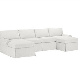 """PB Basic 3-Piece U-Shaped Sectional Slipcover, Denim Warm White - Designed exclusively for our PB Basic Sectional, these easy-care slipcovers have a casual drape, retain their smooth fit, and remove easily for cleaning. Select """"Living Room"""" in our {{link path='http://potterybarn.icovia.com/icovia.aspx' class='popup' width='900' height='700'}}Room Planner{{/link}} to select a configuration that's ideal for your space. This item can also be customized with your choice of over {{link path='pages/popups/fab_leather_popup.html' class='popup' width='720' height='800'}}80 custom fabrics and colors{{/link}}. For details and pricing on custom fabrics, please call us at 1.800.840.3658 or click Live Help. All slipcover fabrics are hand selected for softness, quality and durability. {{link path='pages/popups/sectionalsheet.html' class='popup' width='720' height='800'}}Left-arm or right-arm configuration{{/link}} is determined by the location of the arm on the love seat as you face the piece. This is a special-order item and ships directly from the manufacturer. To view our order and return policy, click on the Shipping Info tab above."""