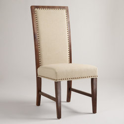 World Market - Java Greyson Side Chair, Set of 2 - Upholstered in creamy linen, our Java Greyson Side Chair looks as if it's been in the family for generations. Crafted of acacia wood with a textured finish, it's detailed with nail head accents for elevated elegance.