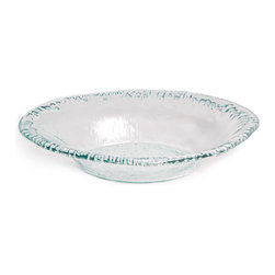 Danya B. - Artisan Recycled Glass Oval Bowl - Add ecofriendly sophistication to your serveware with this recycled glass bowl. Rippled edges and a slightly green hue add subtle texture and color to your table display. Load this gorgeous bowl up with salad or pasta dishes, or use it as your fruit bowl for a lovely centerpiece.