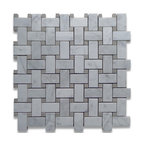 """Stone Center Corp - Carrara Marble Basketweave Mosaic Tile Gray Dots 1x2 Polished - Carrara white marble 1"""" x 2"""" rectangle pieces and Bardiglio Gray 3/8"""" dots mounted on 12"""" x 12"""" sturdy mesh tile sheet"""