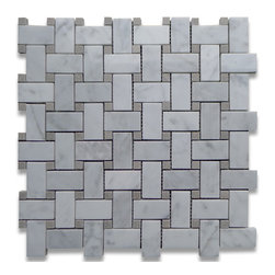 "Stone Center Corp - Carrara Marble Basketweave Mosaic Tile Gray Dots 1x2 Polished - Carrara white marble 1"" x 2"" rectangle pieces and Bardiglio Gray 3/8"" dots mounted on 12"" x 12"" sturdy mesh tile sheet"