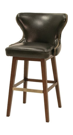Four Hands - Julie Swivel Barstool - Black, Bar Height - The contemporary Metro Collection features a bold, European-inspired style. This collection of leather and fabric upholstery adds a new dimension to modern luxury. The collection features an array of occasional chairs, bar and counter stools/benches, dining chairs, beds and ottomans.