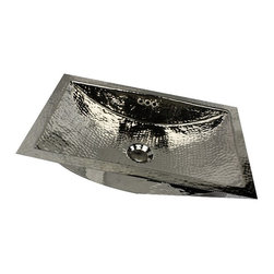 "Nantucket Sinks - Nantucket Sink trn2416-of - 24"" hand Hammered brass Rectangle trough Undermount - An exclusive design, this Hand Hammered Nickel Plated Trough Sink is handcrafted making each sink slightly different than the other. The Welds in the sink are done by hand to give it a truly artistic finish. This sink will naturally patina if left untreated."