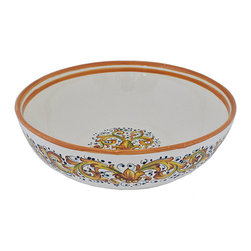 Abbiamo Tutto - Ornato Large Serving Bowl - Hand formed and hand painted in Tuscany, Italy for Abbiamo Tutto with varying shades of amber, green and blue in a festive laurel pattern. Perfect for serving during the holiday season. Each piece is unique. Variations in color and design are part of the beauty and charm of each piece in this collection. Colors are just right for adorning a Tuscan kitchen. Lead free, food safe.