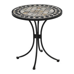 Home Styles - Home Styles Marble Bistro Table in Black & Gray - Home Styles - Patio Bistro Tables - 560534 - This Bistro Table features a table top constructed of natural octagon marble tiles with black square marble tile accents; trimmed in a rectangular and square black marble tile ring.  The cabriole designed base is constructed of aluminum in a Black finish.  Adjustable nylon glides prevent damage to surfaces caused by movement and provide stability on uneven surfaces.  Size:  28��� Diameter x 30��� Height