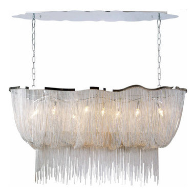 Mulholland Drive Linear Chandelier by Avenue - Mulholland Drive linear chandelier available in Chrome or Black finish. Also available in suspension, ceiling flush, and wall sconce versions. Eight 40 watt 120 volt B10 candelabra base incandescent lamps not included. 59 inches wide x 19 inches deep x 32 inches high.