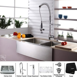 Kraus - Stainless Steel Farmhouse Kitchen Sink Faucet - Add an elegant touch to your kitchen with unique Kraus kitchen combo. Kitchen Sink. Kraus kitchen sink boasts 16-gauge premium grade T-304 stainless steel construction. Scratch-resistant commercial-grade premium satin finish. Padded and Stone Guard undercoated insulation over a rubber pad reduces noise while sink is in use. Features unique Kraus 0.75-inch radius curved corners for easy cleaning and a stylish look. Set of stainless steel bottom grids with protective feet and bumpers, Stainless steel basket strainer, Stainless steel strainer and Dish towel are included. Mounting and installation brackets, cutout template are included. 32.9 inches L x 20.75 inches W x 10 inches H (overall sizes). 17.4 inches L x 16 inches W x 10 inches H (bowl sizes). 11.7 inches L x 16 inches W x 10 inches H (bowl sizes). Certified and Listed by UPC, cUPC, CSA, IAPMO, ANSI and SCC. Limited Lifetime Warranty. Faucet. Faucet is constructed from solid brass with stunning triple plated chrome finish. Solid brass body and commercial pull-down pre-rinse spray on spiral spring. Contains Sedal drip-free ceramic cartridge. Spring aerated flow powerful spray with integrated water hammer arrestor. Single-lever side mixer. Spring-tensioned retractable hose. Spout swivels 360-degrees. Hermetically sealed with adjustable temperature and flow rate limitation. Single-lever water and temperature control. Single-hole, top-mount installation. Water pressure tested for industry standard. Standard US plumbing connections. 2.2 GPM flow rate. Installation in a 1.375-inch hole. All mounting hardware and hot/cold waterlines are included. Faucet height (overall): 28.5 inches. Spout reach: 9.5 inches. Hose measures 28 inches long. 5 Years Limited Manufacturer Warranty. Soap Dispenser. Soap Dispenser is constructed from solid brass with stunning triple plated chrome finish. Easy-push, self-priming pump. Swivels 360 degrees. Refillable from above. Holds 14 ounces of liquid. Measures 2.1 inches high x 3.5 inches deep. Requires 1.25-inch hole. Limited Lifetime WarrantyInstruction Manual