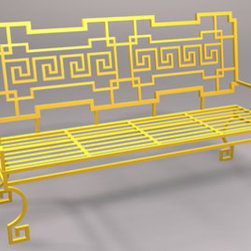 Greek Key Garden Bench, Wrought Iron - This hand-wrought iron Greek key bench is available in many colors and would be a focal point in any garden. It is also available in aluminum.