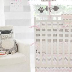 My Baby Sam - Chevron Baby Crib Bumper in Pink and Gray - Chevron Baby Crib Bumper in Pink and Gray