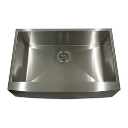 "Nantucket Sinks - Nantucket Sink APron332010-16 - 33"" Pro Series Single Bowl Undermount APron fron - This undermount Pro Series Apron provides 90° corners for additional space and a fresh modern industrial look. The bottom of the sink has channel grooves to divert water for proper drainage."