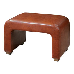 Uttermost - Uttermost Pennie Leather Bench - Pennie Leather Bench by Uttermost Sturdy Bench Made From Hardwood Solids And Structural Plywood, Featuring Double-stitched, Copper-chestnut Faux Leather Accented With Weathered Pecan Finished Feet.