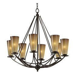 "Murray Feiss - Contemporary El Nido Collection Mocha Bronze 29"" High 8-Light Chandelier - The El Nido Collection offers updated good looks inspired by old world style. This attractive 8 light chandelier features a mocha bronze finish and striated ivory glass. A spectacular design from Murray Feiss. Mocha bronze finish. Striated ivory glass. Takes eight 60 watt candelabra bulbs (not included). 29"" high. 28"" wide. 95"" total height. Includes 180"" of wire and 60"" of chain. Canopy is 5 1/2"" round 3/4"" deep.  Mocha bronze finish.   Striated ivory glass.   Takes eight 60 watt candelabra bulbs (not included).   29"" high.   28"" wide.   95"" total height.   Includes 180"" of wire and 60"" of chain.   Canopy is 5 1/2"" round 3/4"" deep."