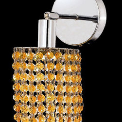 Elegant Lighting - Mini Ellipse Chrome One-Light Bath Fixture with Royal Cut Light Topaz Yellow Cry - Royal Cut crystal is a combination of high quality lead free machine cut and machine polished crystals and full-lead machined-cut crystals to meet a desirable showmanship of an authentic crystal light fixture.  -Recommended to be professionally hung and supported independently of the outlet box. Consult an electrician for guidance to determine the correct hanging procedure.  -Crystals may ship separately and some assembly is required.  -Depending on the size & design the assembly can be time consuming, but is well worth the effort. Elegant Lighting - 1281W-R-E-LT/RC
