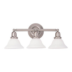 Sea Gull Lighting - Sea Gull Lighting-44062-962-Traditional style Bath and Vanity - Three Light Decorative Bath Bracket Finished in Brushed Nickel with Satin White Glass Shades. Yesterday's styling.